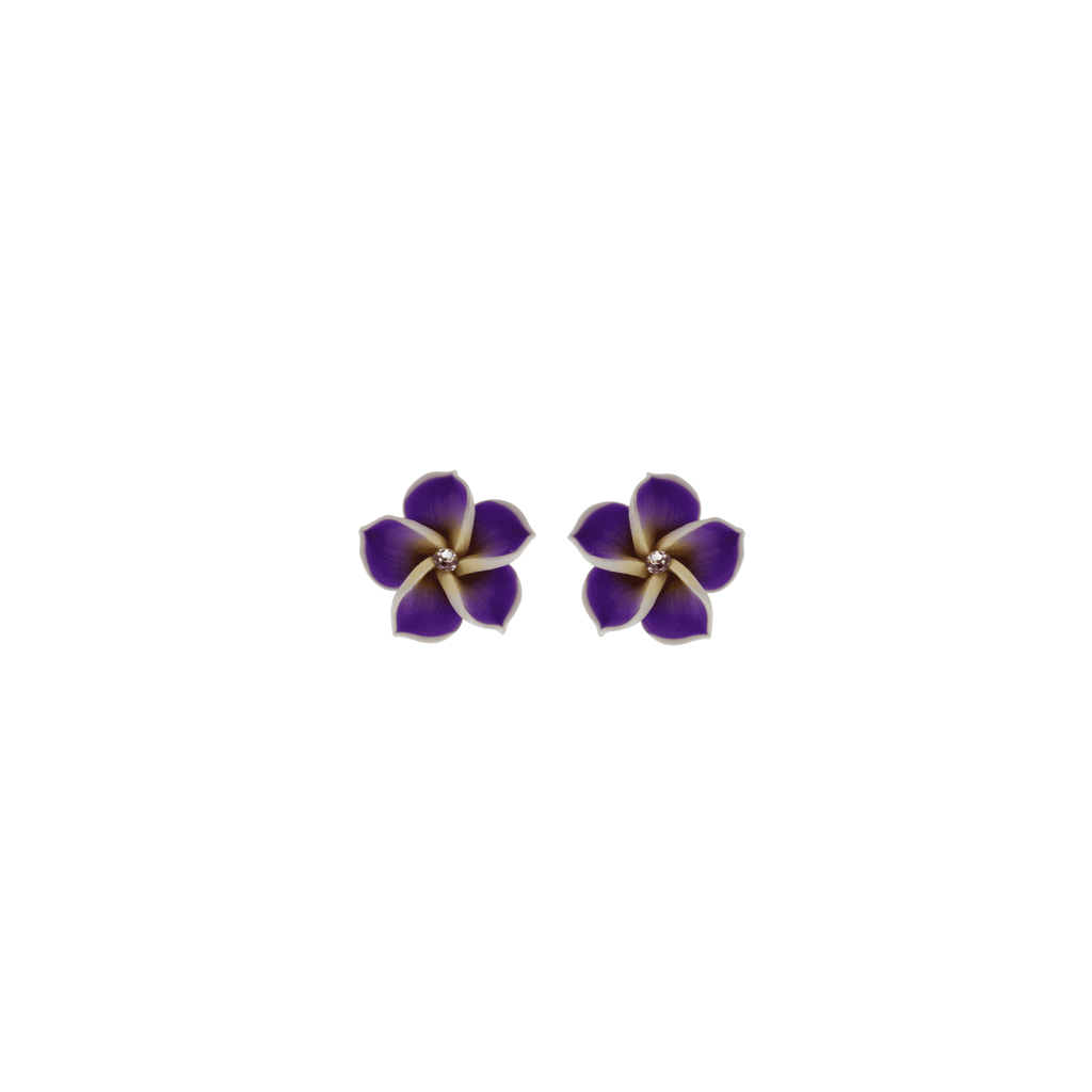 Purple Frangipani Earrings