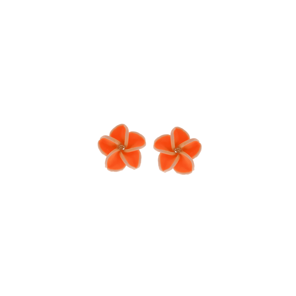 Orange Frangipani Earrings