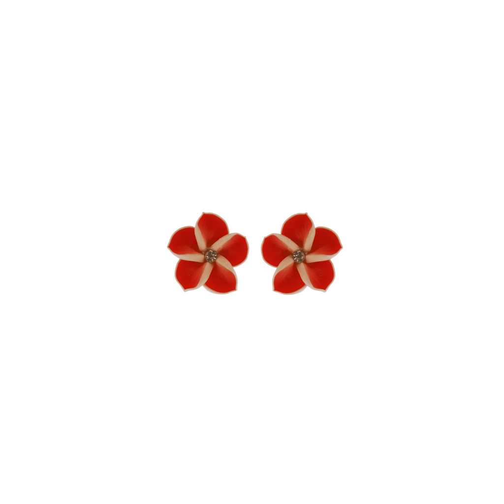 Red Frangipani Earrings