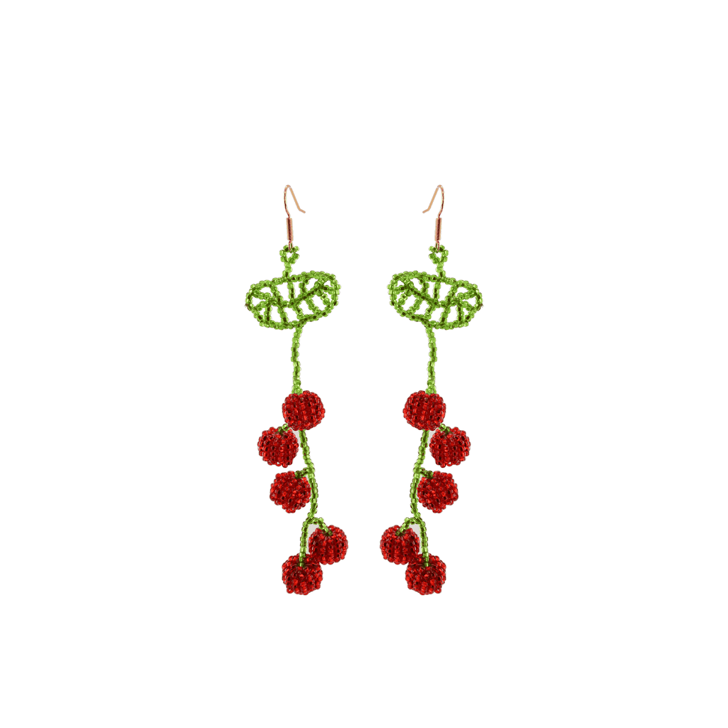 Hanging Cherry Beaded Earrings