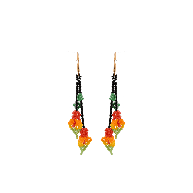 Tropical Calla Lily Beaded Earrings - Josephine Alexander Collective