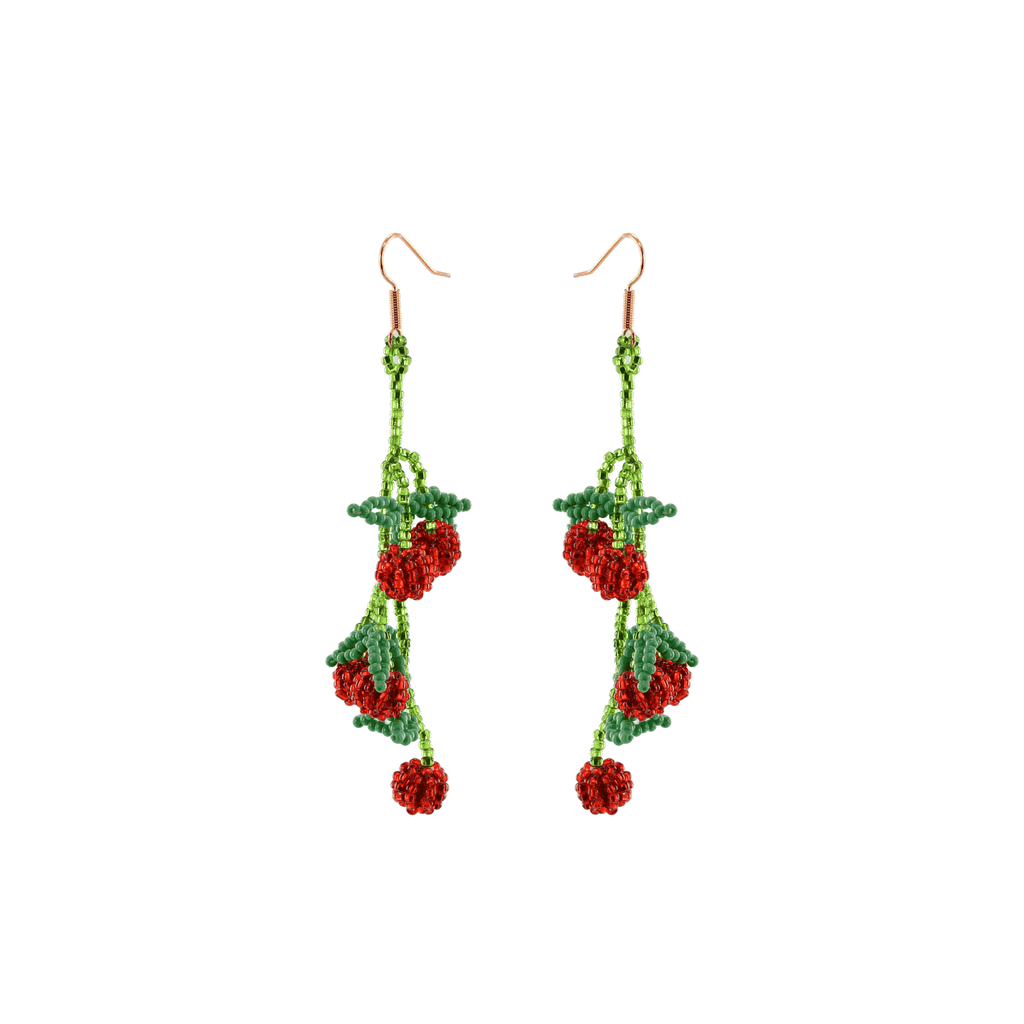 Cherry Tomato Vine Beaded Earrings