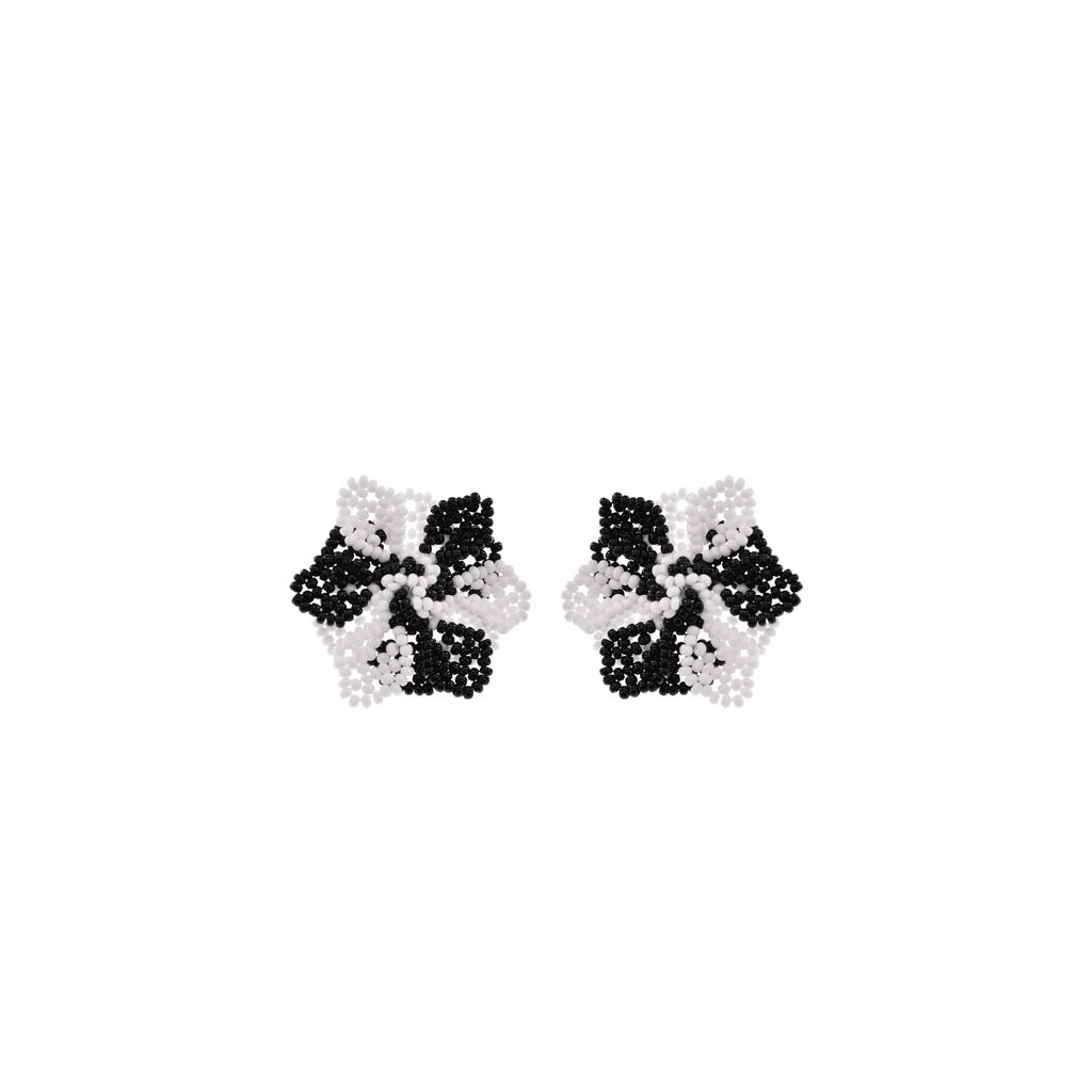 Wild Flower Earrings in Black and White