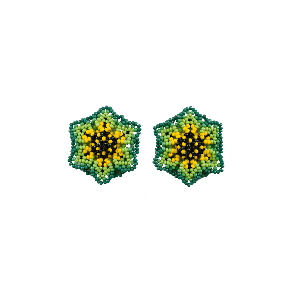 Wild Flower Earrings in Lime
