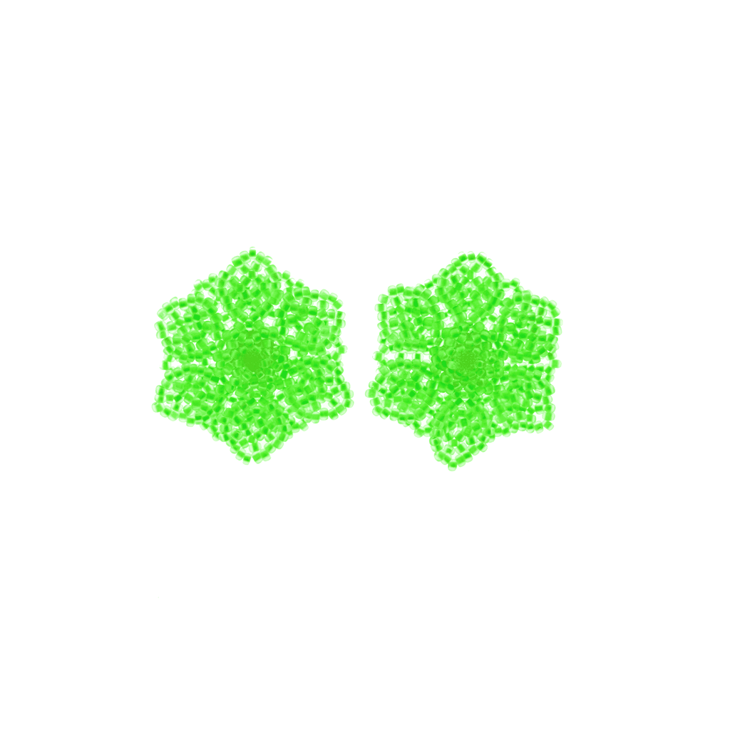Wild Flower Earrings in Neon Green