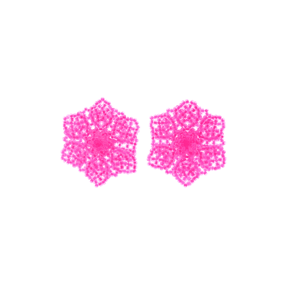 Wild Flower Earrings in Neon Pink