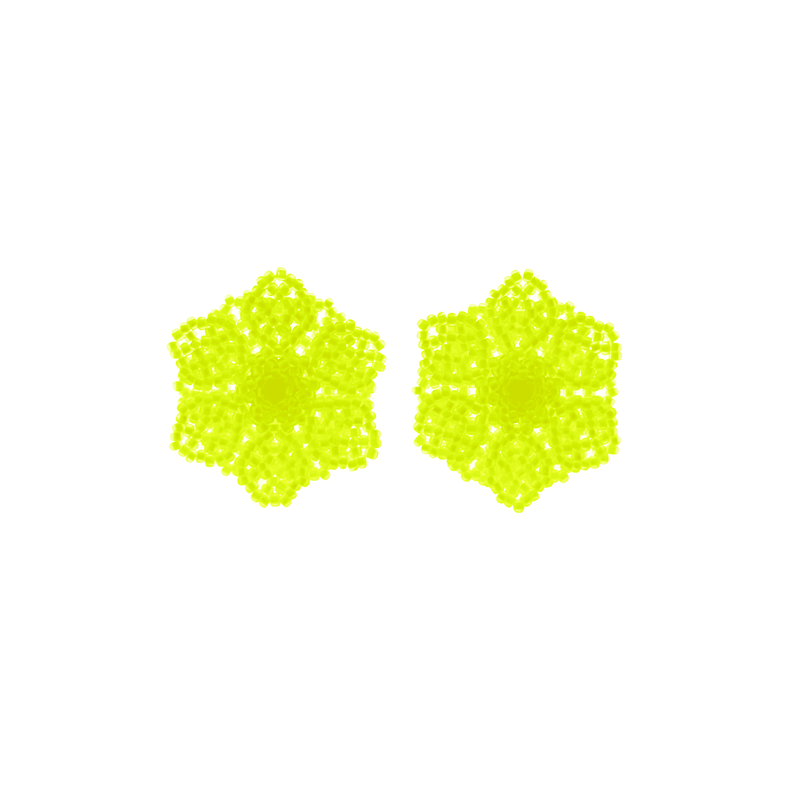 Wild Flower Earrings in Neon Yellow