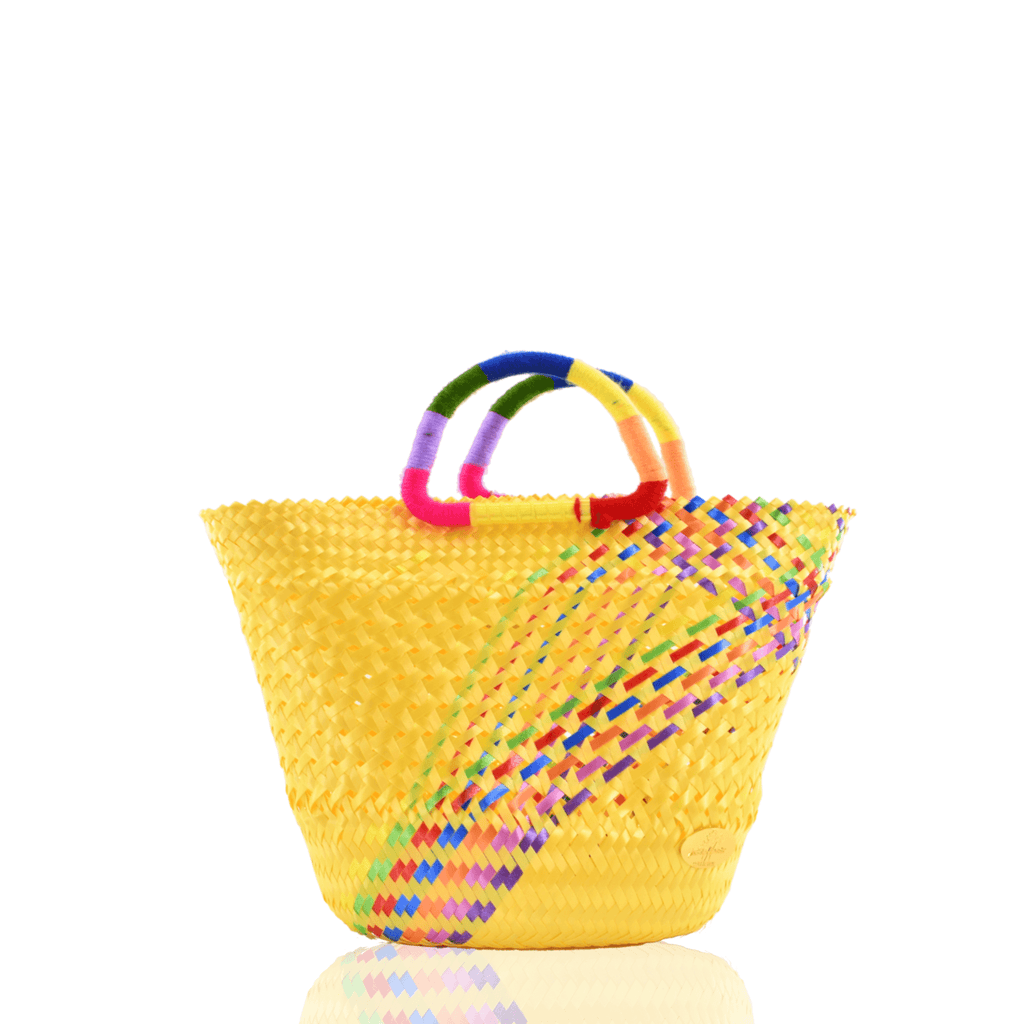 Lulu Basket Bag in Yellow Splash of Rainbow - Josephine Alexander Collective