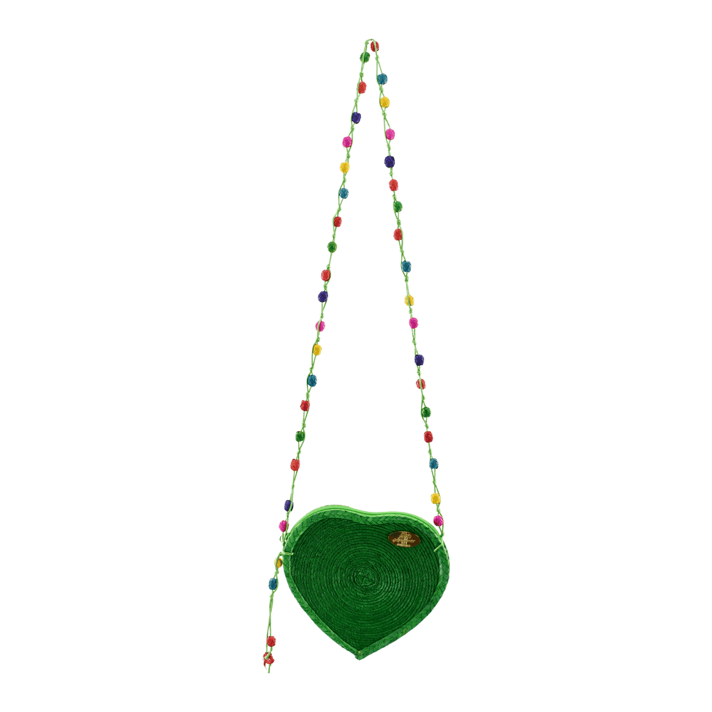 Love Heart Straw Crossbody in Green - Josephine Alexander Collective