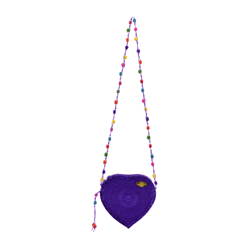 Love Heart Straw Crossbody in Purple - Josephine Alexander Collective