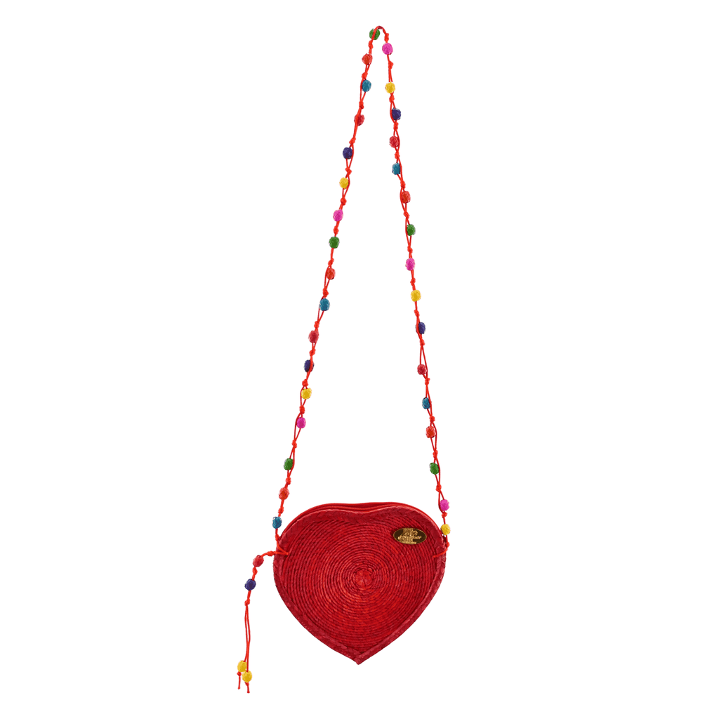 Love Heart Straw Crossbody in Red - Josephine Alexander Collective