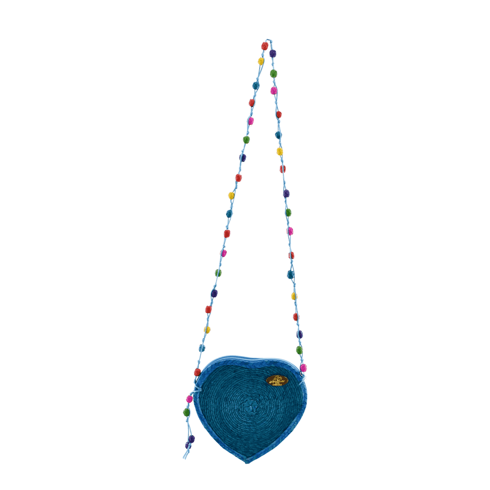 Young at Heart Straw Crossbody in Turquoise