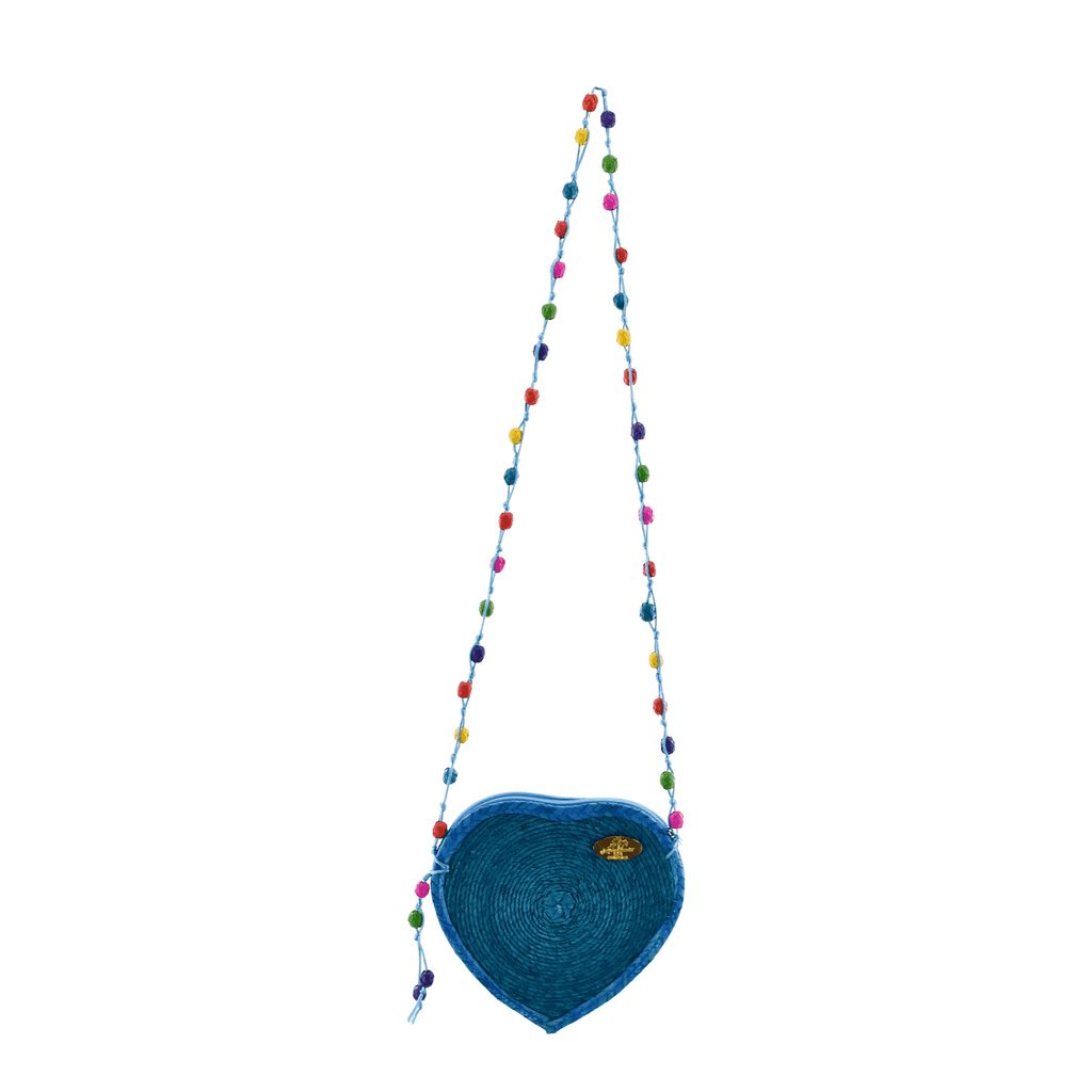 Love Heart Straw Crossbody in Turquoise