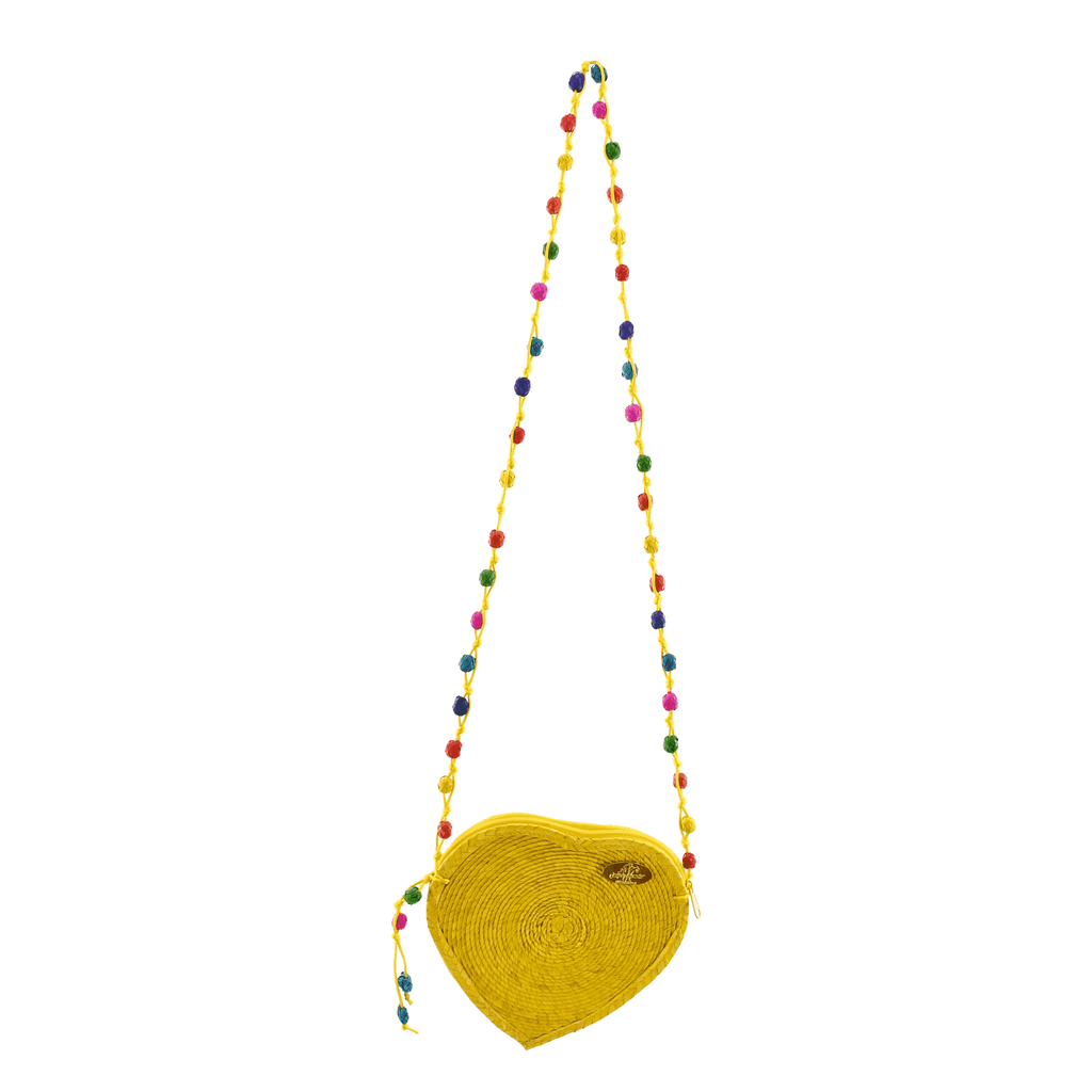 Love Heart Straw Crossbody in Yellow - Josephine Alexander Collective