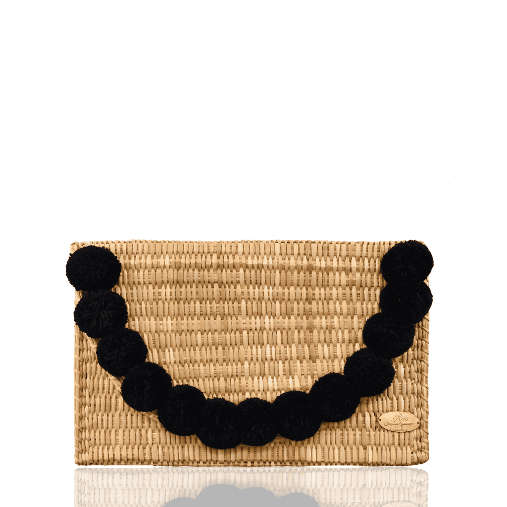 Abby Straw Clutch with Black Poms