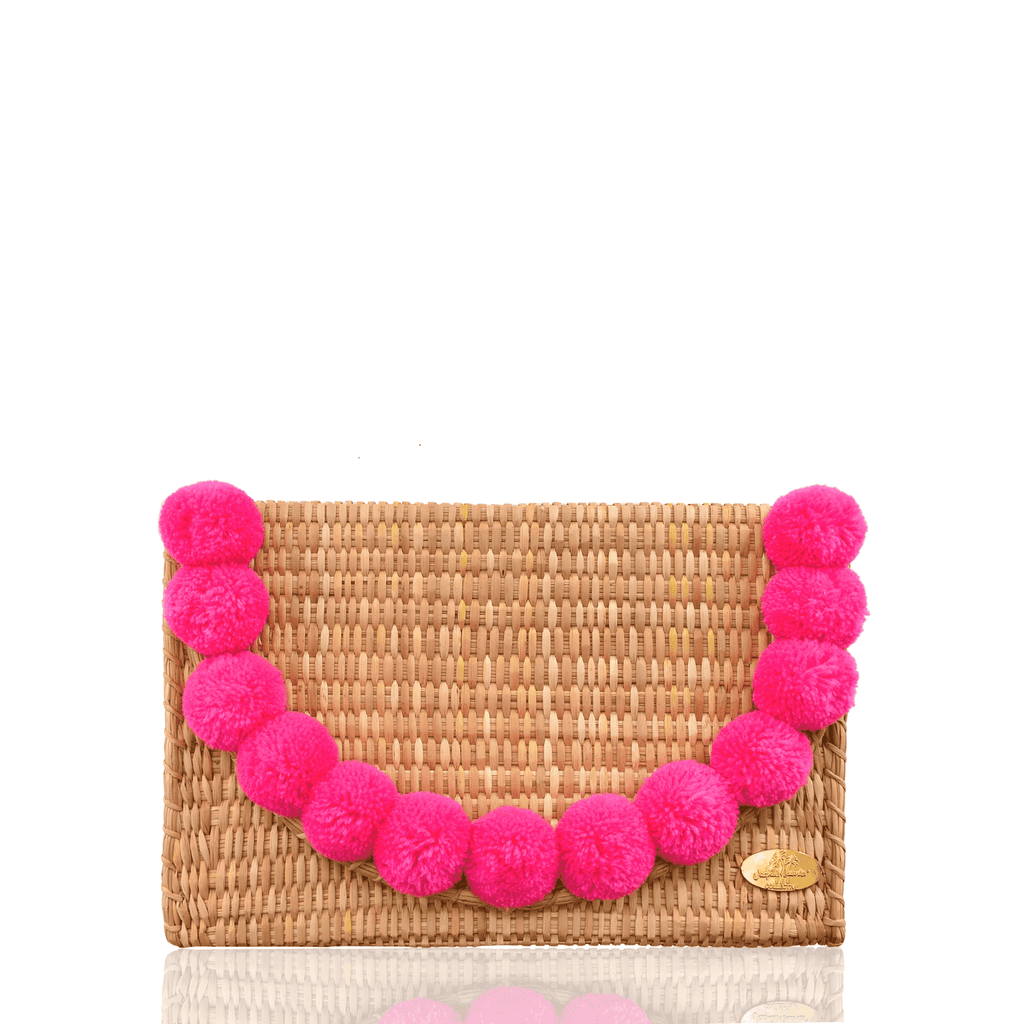 Abby Straw Clutch with Pink Poms - Josephine Alexander Collective