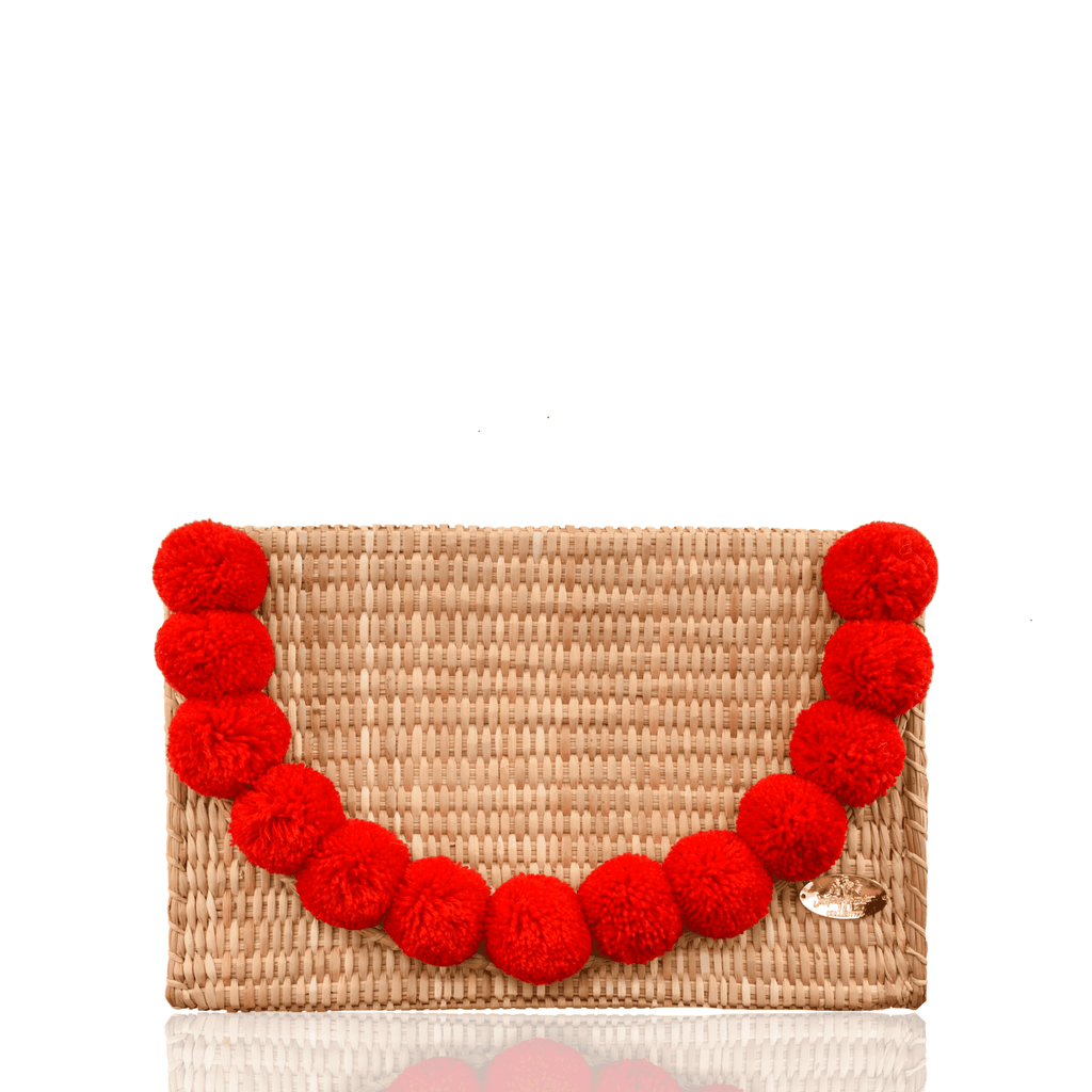 Abby Straw Clutch with Red Poms