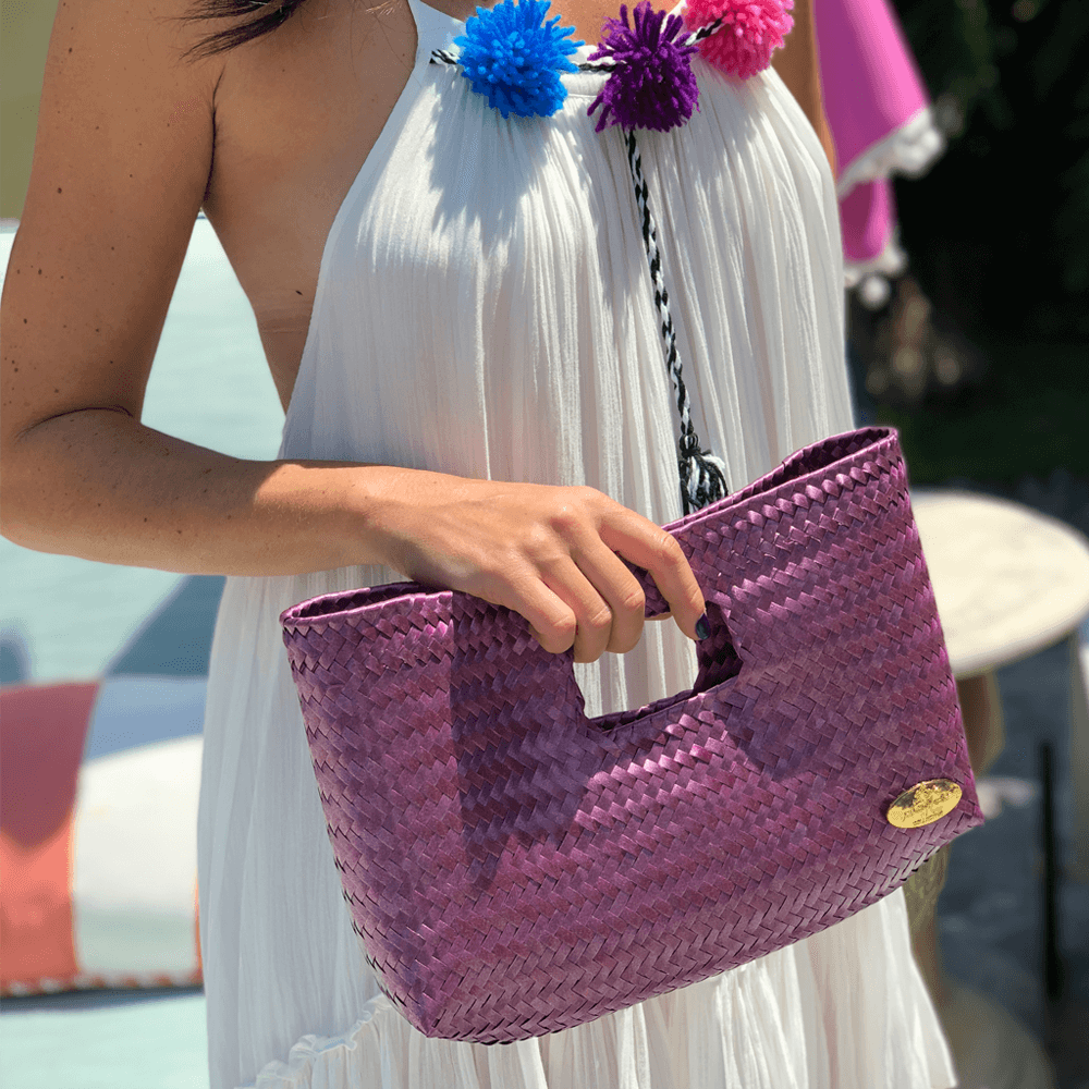 Alison Woven Clutch in  Pink and Blue - Josephine Alexander Collective