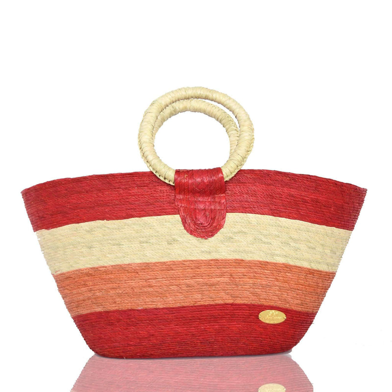 Alma Straw Bucket Bag in Red
