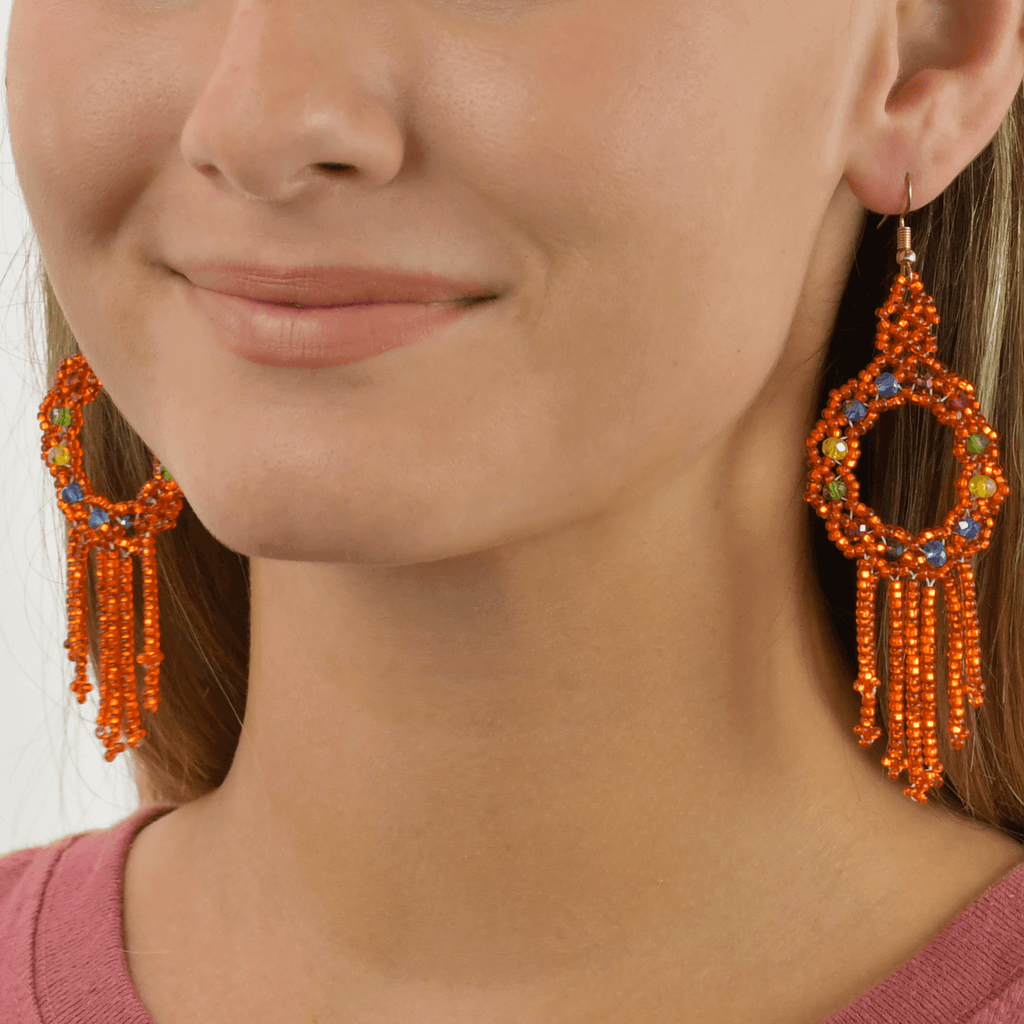 Dreamer Earrings in Metallic Orange Rainbow - Josephine Alexander Collective