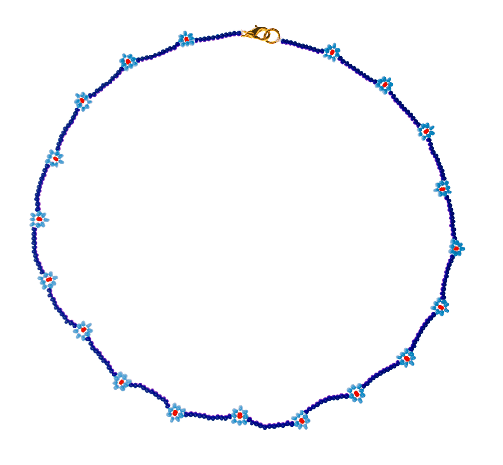 Beaded Daisy Necklace in Blue - Josephine Alexander Collective
