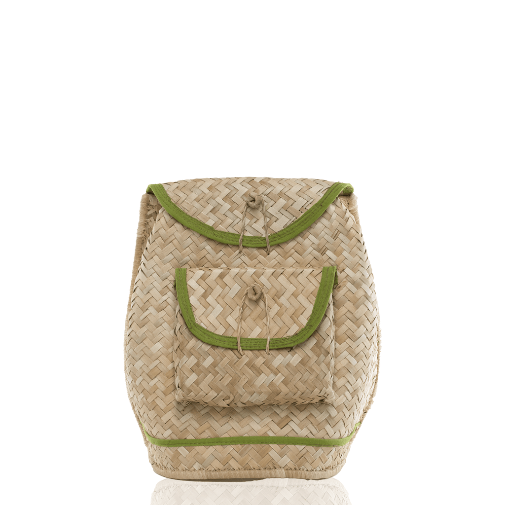 Woven Straw Backpack - Green - Josephine Alexander Collective