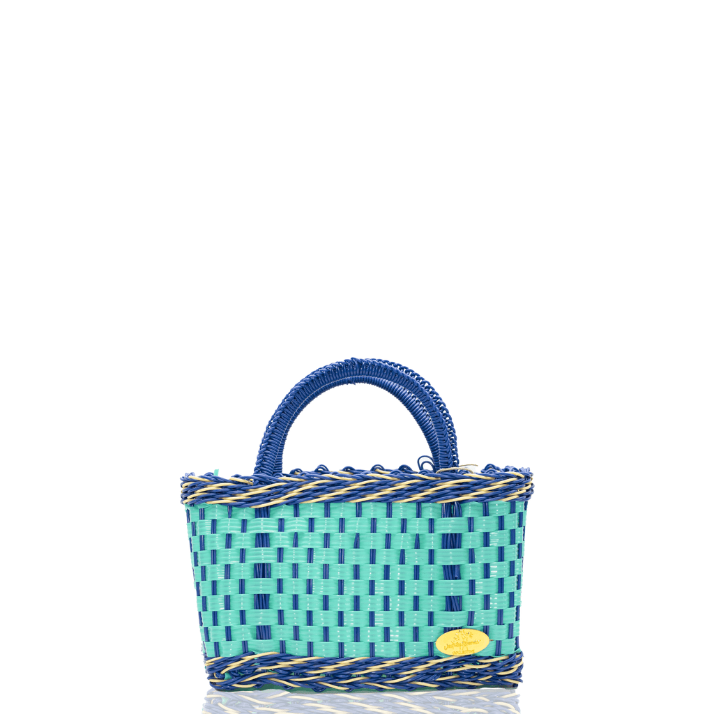 Jessica Basket Bag in Aqua and Blue - Josephine Alexander Collective
