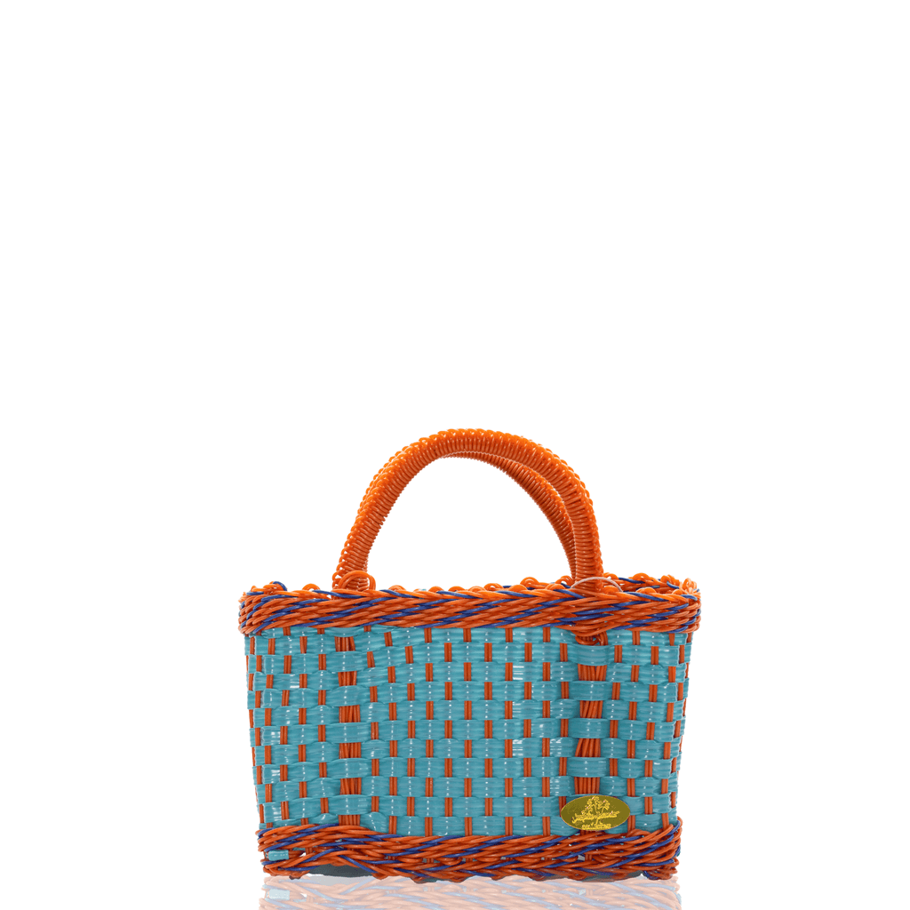 Jessica Basket Bag in Teal and Orange Blue - Josephine Alexander Collective
