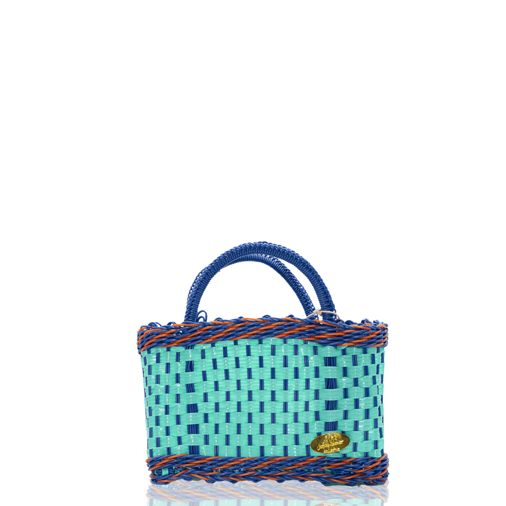 Jessica Basket Bag in Aqua and Blue Orange - Josephine Alexander Collective