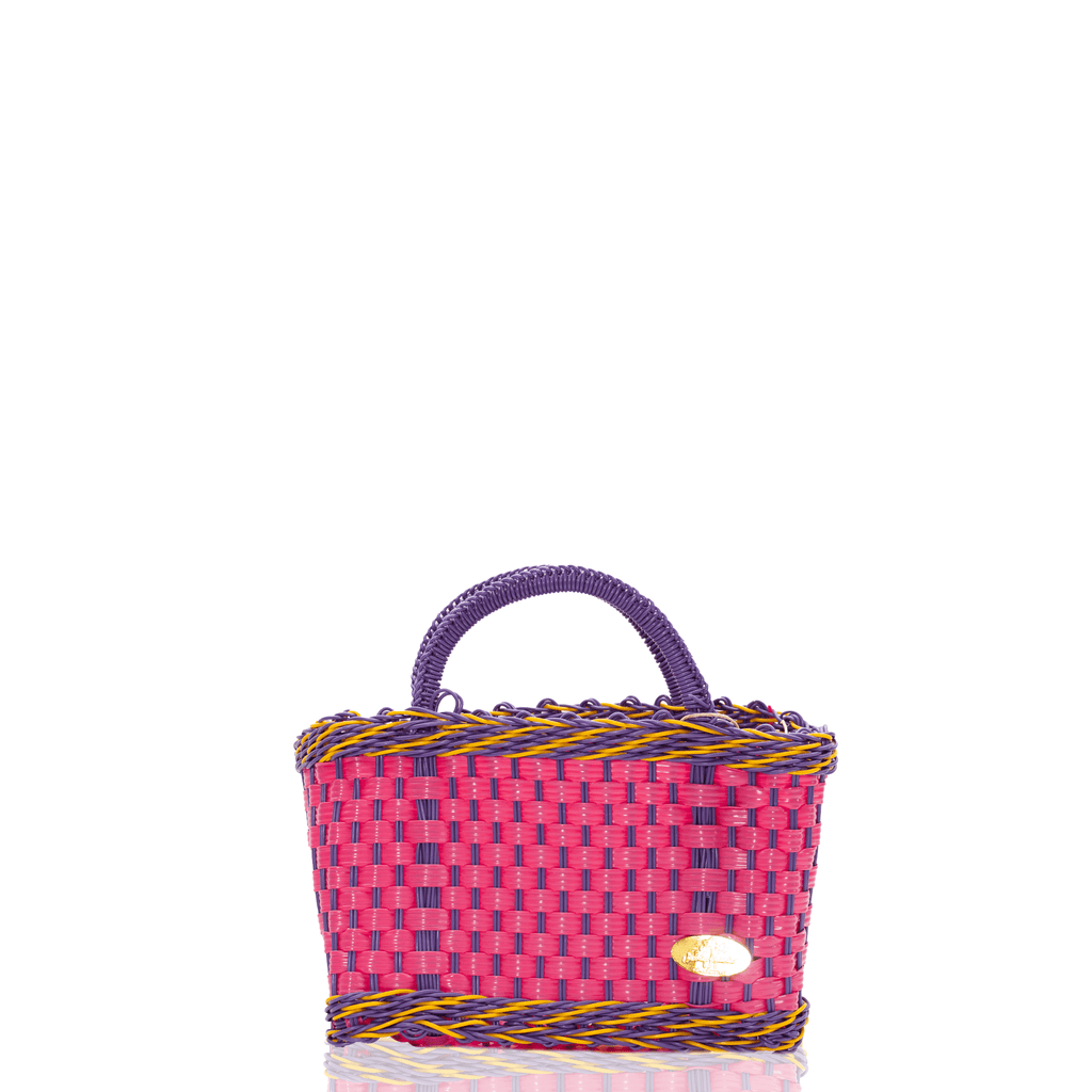 Jessica Basket Bag in Pink and Purple Yellow - Josephine Alexander Collective