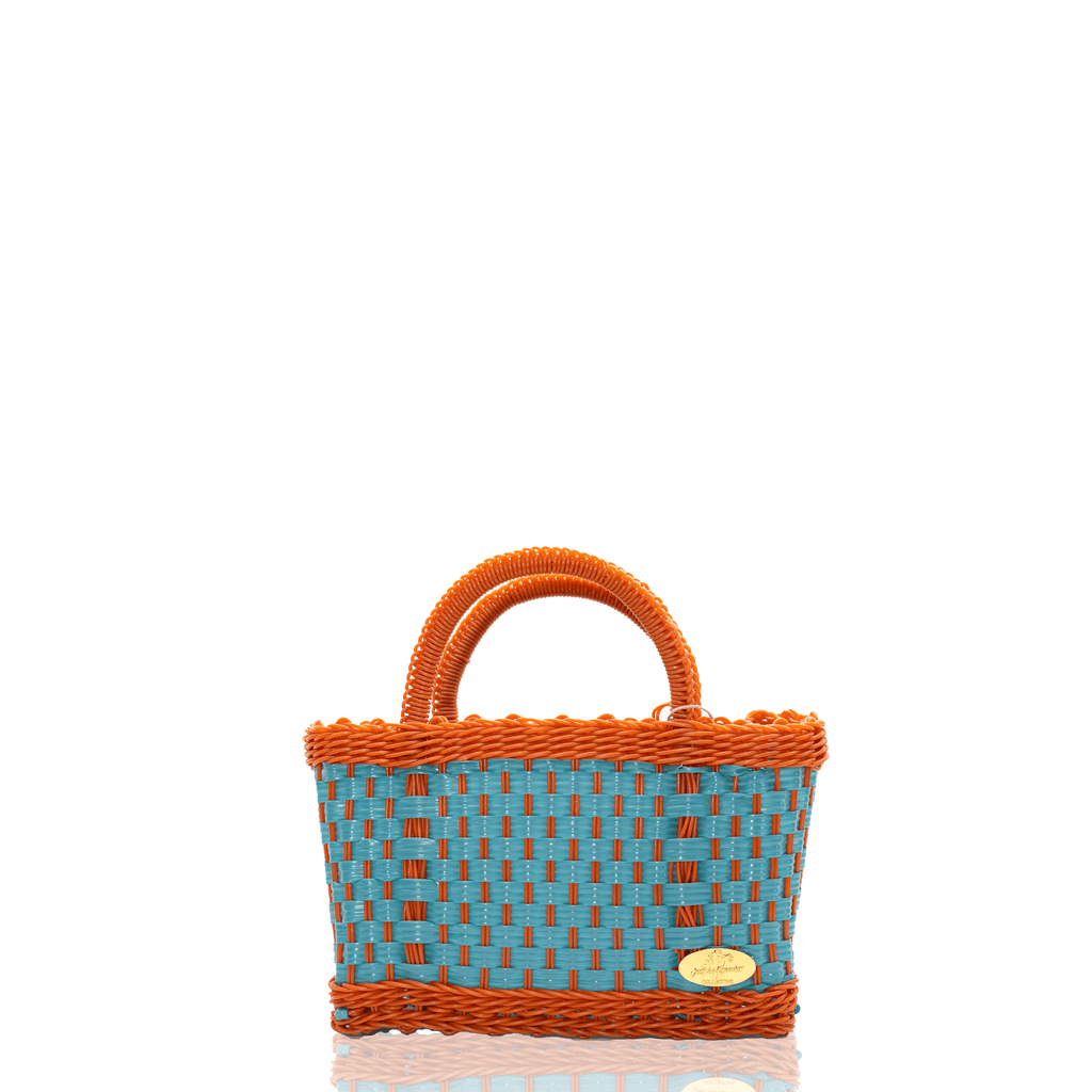 Jessica Basket Bag in Teal Orange - Josephine Alexander Collective
