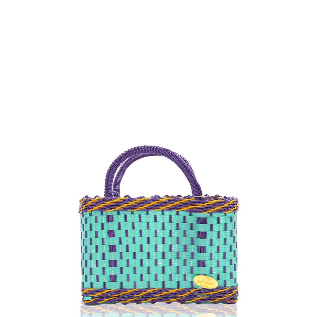Jessica Basket Bag in Aqua and Purple Yellow - Josephine Alexander Collective