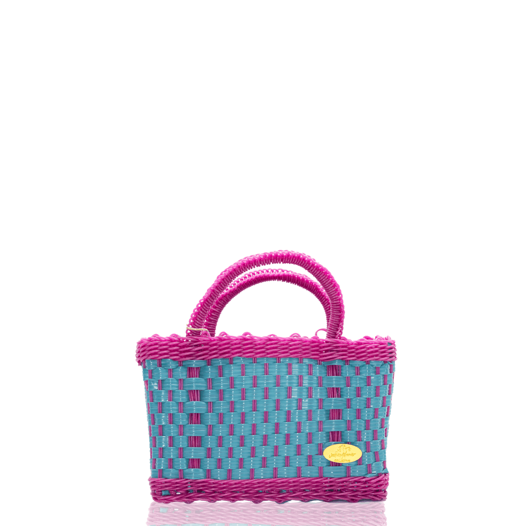 Jessica Basket Bag in Teal and Fuchsia - Josephine Alexander Collective
