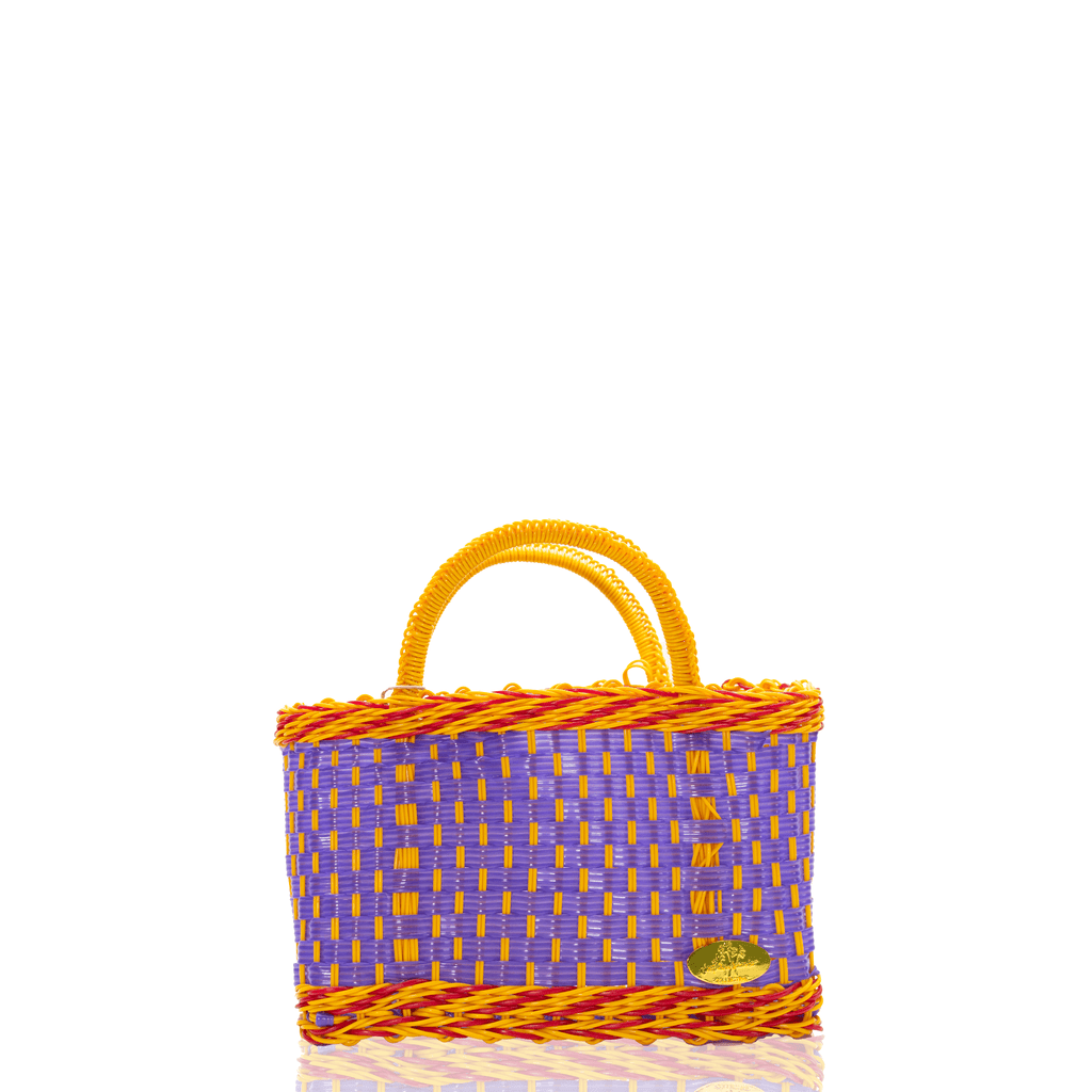 Jessica Basket Bag in Purple and Dark Yellow - Josephine Alexander Collective