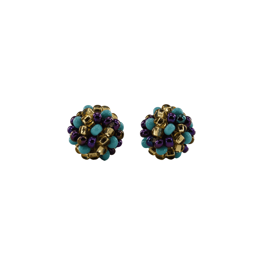 Ball Stud Earrings in Turquoise Confetti