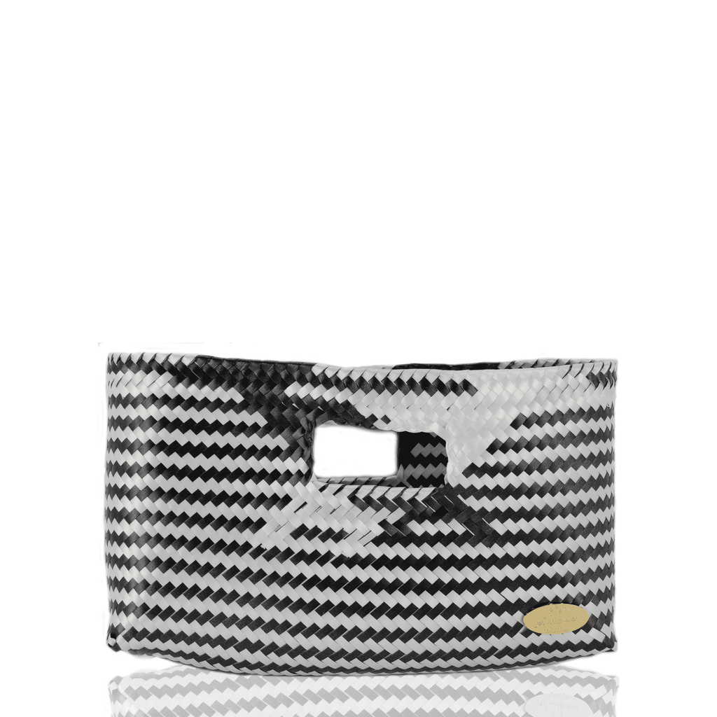 Alison Woven Clutch in Black and White