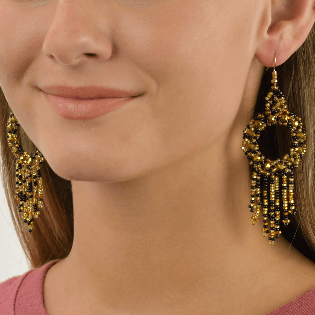 Dreamer Earrings in Black and Gold - Josephine Alexander Collective