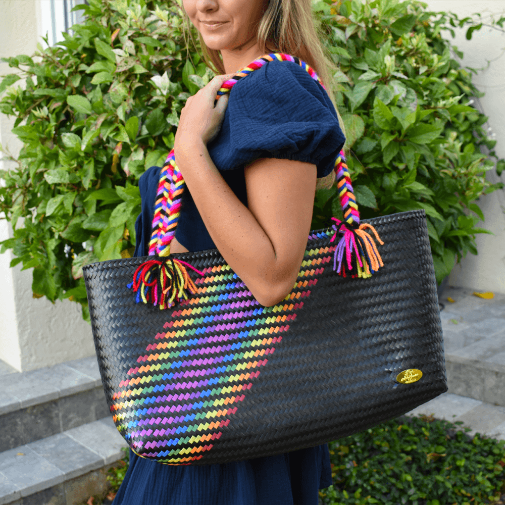 The Nicky Bag in Black Splash of Rainbow - Josephine Alexander Collective