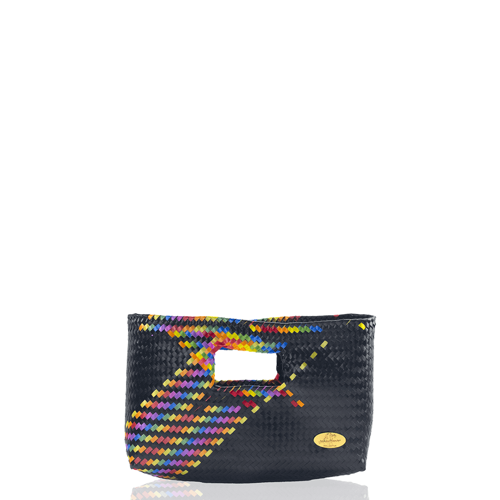 Alison Woven Clutch in Black Splash of Rainbow - Josephine Alexander Collective