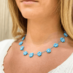 Large Daisy Chain Necklace Blue - Josephine Alexander Collective