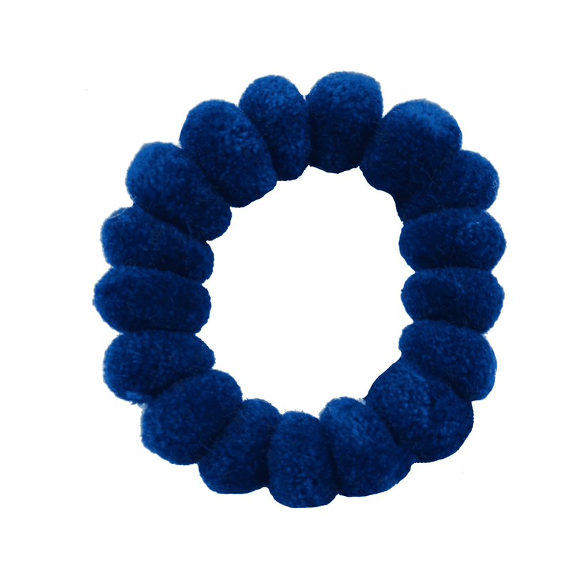 Pom Scrunchies in Racing  Blue