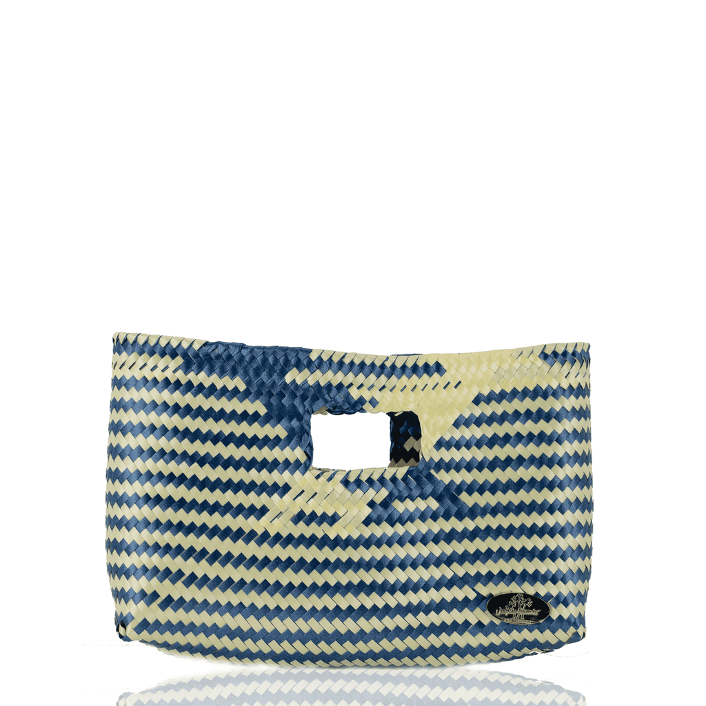 Alison Woven Clutch in Blue Check