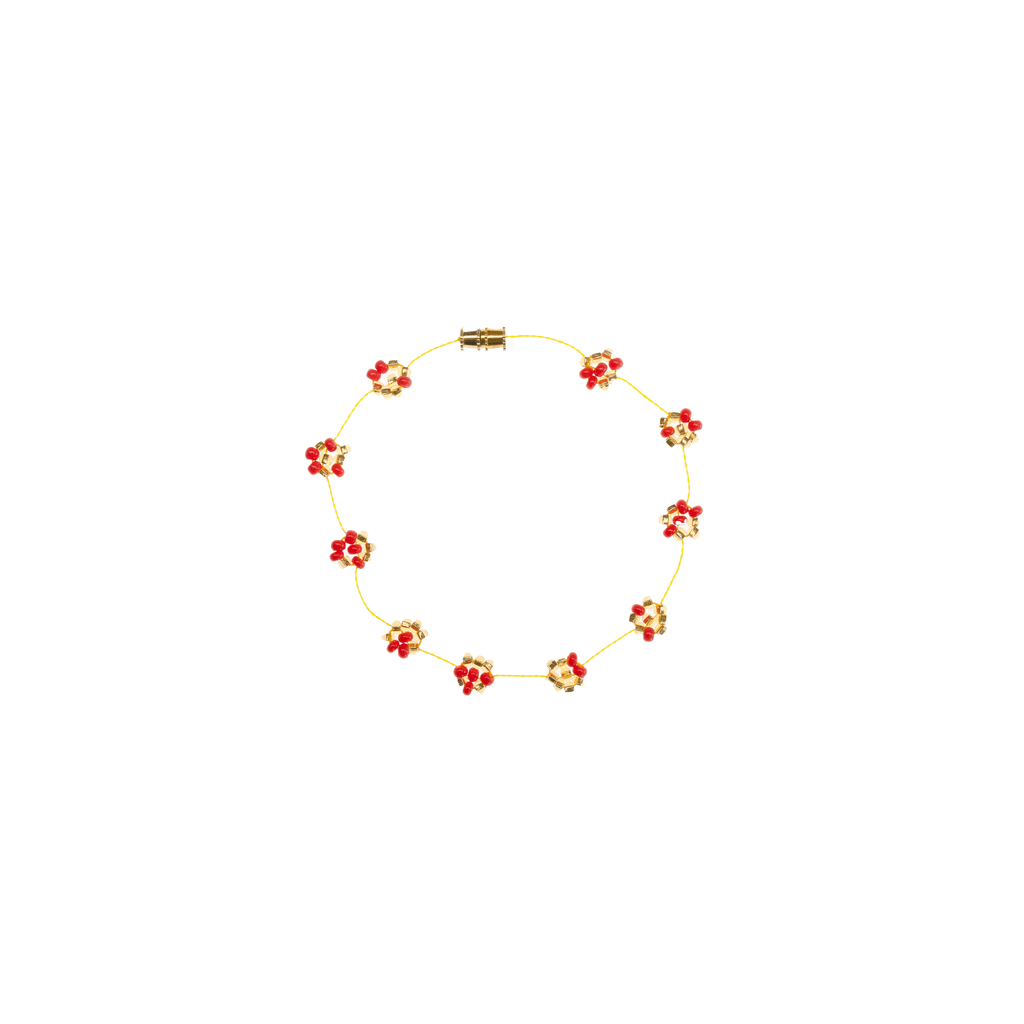 Daisy Chain Bracelet in Coral and Gold - Josephine Alexander Collective