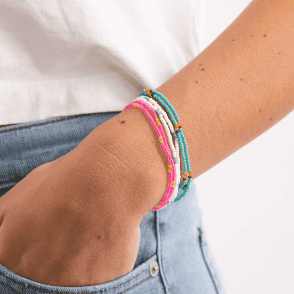 Bubblegum Beaded Bracelet Stack