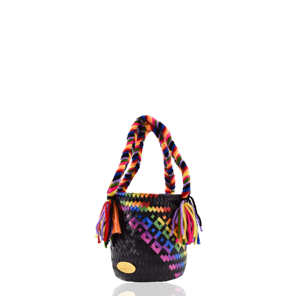 Mini Bucket Bag in Black Splash of Rainbow - Josephine Alexander Collective