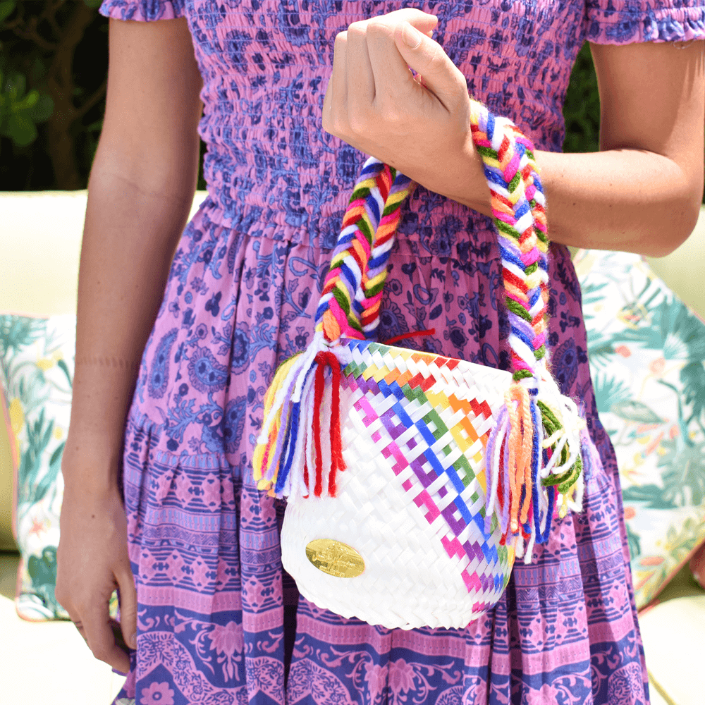 Mini Bucket Bag in White Splash of Rainbow - Josephine Alexander Collective