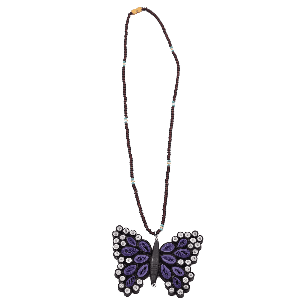 Quilled Butterfly Necklace in Purple - Josephine Alexander Collective