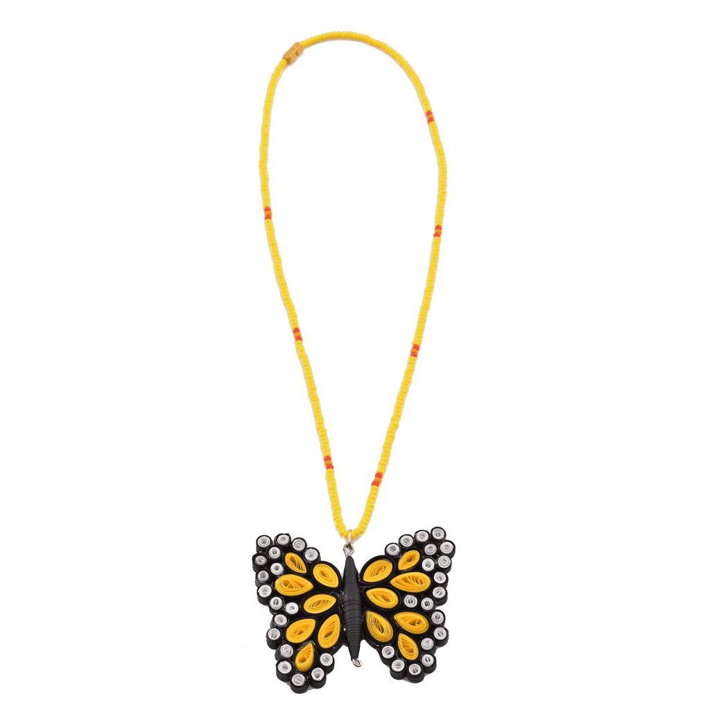 Quilled Butterfly Necklace in Yellow - Josephine Alexander Collective