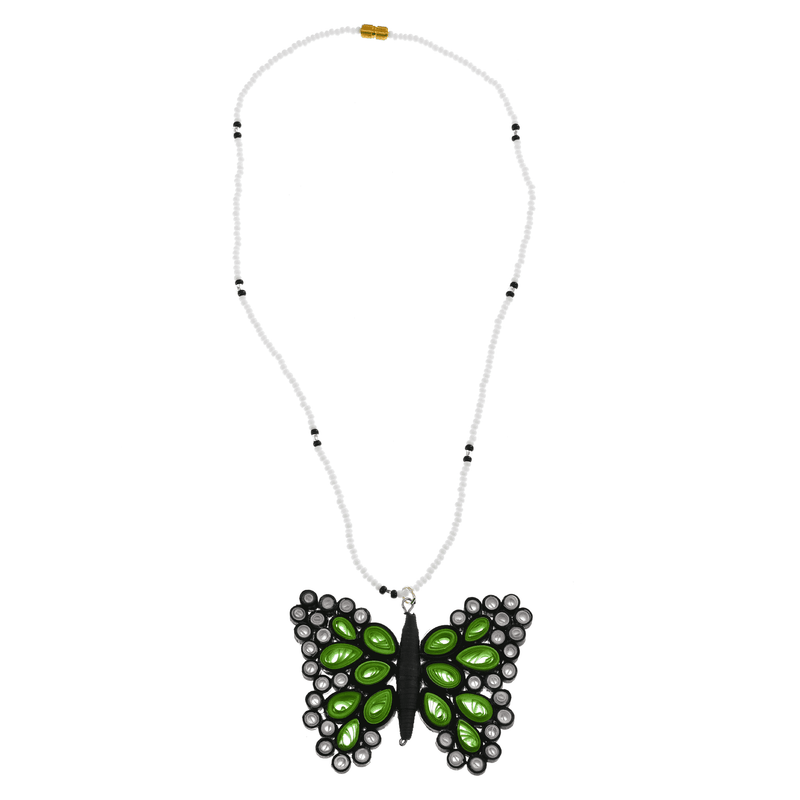 Quilled Butterfly Necklace in Green - Josephine Alexander Collective