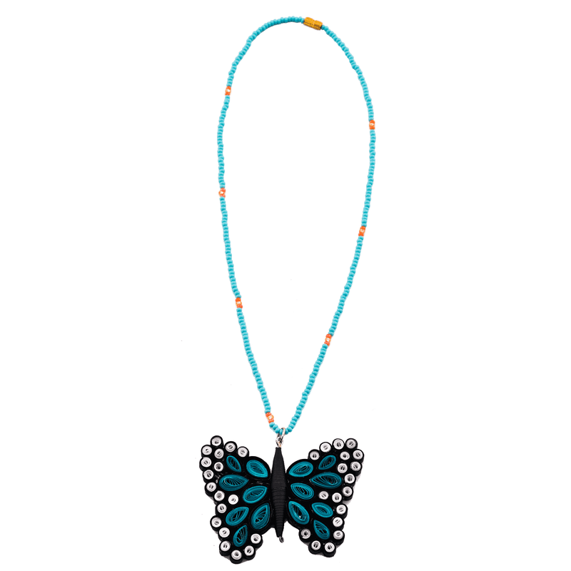 Quilled Butterfly Necklace in Turquoise - Josephine Alexander Collective